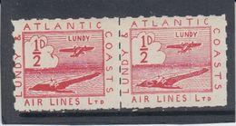 #29 Great Britain Lundy Island Stamp 1939 Sm Airl Red Cat #19(b) Broken Cloud - Emissione Locali