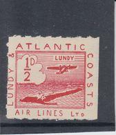 #42 Great Britain Lundy Island Stamp 1939 Sm Air Red Cat #19(a)(fb) Cloud Bulge - Emissione Locali