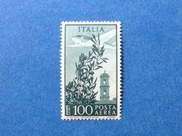 ITALIA 1955 FRANCOBOLLO NUOVO ITALY STAMP NEW MNH** POSTA AEREA 100 LIRE CAMPIDOGLIO FILIGRANA STELLE - 6. 1946-.. Repubblica