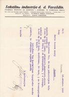 CROATIA  -  VARAZDIN  --  FACTURE, INVOICE  --  TEKSTILNA INDUSTRIJA  D. D.   --  1936 - Fatture & Documenti Commerciali