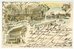 Gruss Aus SCHWEINFURT Gasthof Zur Goldenen Sonne 1898 Schöne Litho Ansichtskarte - Schweinfurt