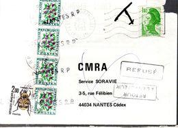 CARTE POSTALE 1982 - POSTEE A LA CHAPELLE SUR ERDRE - TAXEE A NANTES ET REFUSEE PAR LE DESTINATAIRE - - Impuestos