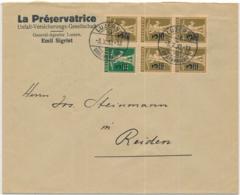 Zumstein 180-181 / Michel 239-240 Im Auf Portogerechtem Firmenbrief Brief Von Luzern Nach Reiden - Covers & Documents