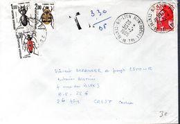 LETTRE 1985 - POSTEE A LYON MONTROCHET - TAXEE A CREST POUR AFFRANCHISSEMENT INSUFFISANT - - Postage Due
