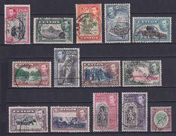 CEYLON 1938/49, SG# 386-399, CV £30, Nature, Used - Ceylon (...-1947)