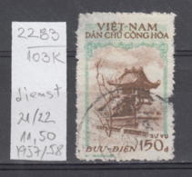 103K2283 / 1957-1958 - Michel Nr. 21 Used ( O ) Dienstmarken - One Pillar Pagoda , North Vietnam Viet Nam - Vietnam
