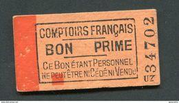 """Monnaie Carton """"Comptoirs Français - Bon Prime"""" Jeton Nécessité - Monétaires / De Nécessité"""