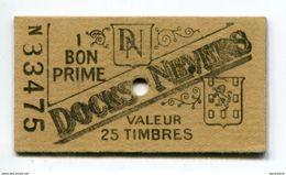 """Monnaie Carton Nécessité """"1 Bon Prime - Docks De Nevers - Valeur 25 Timbres"""" Nièvre - Bourgogne - Monétaires / De Nécessité"""