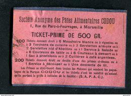 """Monnaie De Nécessité Jeton-carton """"Marseille / Ticket-Prime De 500gr / Pâtes Alimentaires Codou"""" - Monétaires / De Nécessité"""