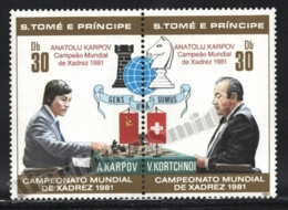 Sao Tome & Principe 1981 Yvert 646-47, Chess. World Championship. Karpov & Kortchnoi - Pair - MNH - Sao Tomé E Principe