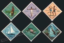 Sao Tome & Principe 1962 Yvert 377-82, Sports. Fishing, Rings, Handball, Yachting, Athletics & Spearfishing - MNH - Sao Tomé E Principe