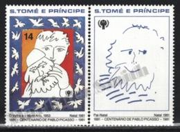 Sao Tome & Principe 1981 Yvert 648, Christmas. Art. Picasso Centenary, Paintings - Tab - MNH - Sao Tomé E Principe