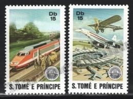 Sao Tome & Principe 1982 Yvert 682-83, Transport. Trains & Planes - MNH - Sao Tomé E Principe