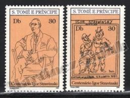 Sao Tome & Principe 1982 Yvert 686-87, Music. Composer, Igor Stravinski Centenary. Art. Picasso Drawing - MNH - Sao Tomé E Principe