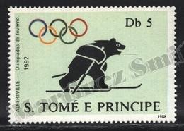 Sao Tome & Principe 1988 Yvert 931L, Sports. Albertville Winter Olympic Games. Skier Bear - MNH - Sao Tomé E Principe