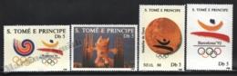 Sao Tome & Principe 1988 Yvert 931Q-31T, Sports. Barcelona Olympic Games. Logo, Medal & Cobi Mascot - MNH - Sao Tomé E Principe