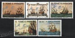 Sao Tome & Principe 1989 Yvert 951-55, Ships. Merchant Ships & Warships. 500th Anniv Discovery America - MNH - Sao Tomé E Principe