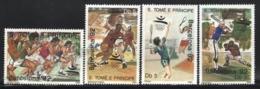 Sao Tome & Principe 1989 Yvert 976-79, Sports. Barcelona Olympic Games. Athletics, Basketball, Tennis & Baseball - MNH - Sao Tomé E Principe