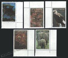 Sao Tome & Principe 1992 Yvert 1128-32, Fauna. Walrus, Eagle, Tiger & Elephant. Flora. Trees. Rio Janeiro Summit - MNH - Sao Tomé E Principe