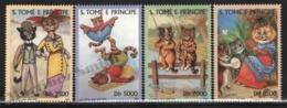 Sao Tome & Principe 2000 Yvert 1307-10, Art. Designs By Louis William Wain. Fauna. Cat Characters - MNH - Sao Tomé E Principe