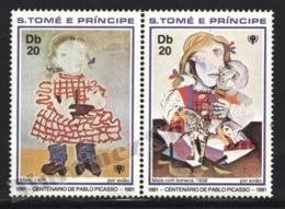 Sao Tome & Principe 1982 Yvert Airmail 22-23, Art. Children. Maia Paintings By Picasso - MNH - Sao Tomé E Principe