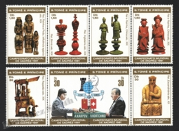 Sao Tome & Principe 1981 Yvert 638-45, Chess. World Championship. Ancient Pieces. Karpov & Kortchnoi - Strips - MNH - Sao Tomé E Principe