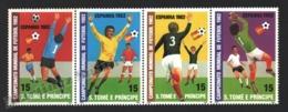 Sao Tome & Principe 1982 Yvert 678-81, Sports. Football, Spain FIFA World Cup, Players - Strip - MNH - Sao Tomé E Principe