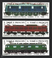 Sao Tome & Principe 1988 Yvert 909-14, Trains. Locomotives & Railways - Pairs - MNH - Sao Tomé E Principe