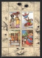 Sao Tome & Principe 2000 Yvert 1311-14, Art. Louis William Wain Designs. Fauna. Cat Characters - Miniature Sheet - MNH - Sao Tomé E Principe