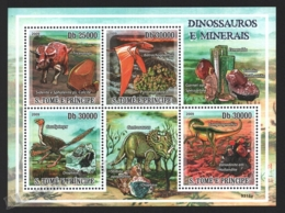 Sao Tome & Principe 2009 Yvert 3082-85, Fauna. Paleontology. Dinosaurs. Geology. Minerals - Miniature Sheet - MNH - Sao Tomé E Principe
