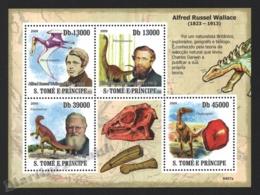 Sao Tome & Principe 2009 Yvert 3138-41, Famous People. Naturalist, Alfred Russel Wallace - Miniature Sheet - MNH - Sao Tomé E Principe