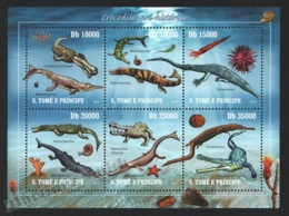 Sao Tome & Principe 2010 Yvert 3390-95, Fauna. Paleontology. Prehistoric Crocodiles - Miniature Sheet - MNH - Sao Tomé E Principe