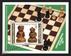 Sao Tome & Principe 1981 Yvert BF 26, Chess. Khmer King & Queen Pieces - Miniature Sheet - MNH - Sao Tomé E Principe