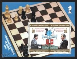 Sao Tome & Principe 1981 Yvert BF 27, Chess. World Championship - Overprinted & Non Perforated Miniature Sheet - MNH - Sao Tomé E Principe