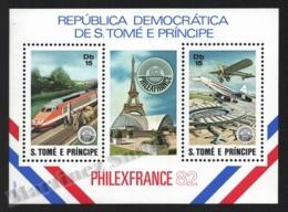 Sao Tome & Principe 1982 Yvert BF 33, Transport. Trains & Planes. Eiffel Tower, Philexfrance 82 - Miniature Sheet - MNH - Sao Tomé E Principe