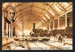 Sao Tome & Principe 1982 Yvert BF 37, Trains. Locomotives. Engineer, George Stephenson - Miniature Sheet - MNH - Sao Tomé E Principe