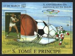 Sao Tome & Principe 1987 Yvert BF 51, Sports. Organizations. 10th Anniv DGD, Tennis Player - Miniature Sheet - MNH - Sao Tomé E Principe