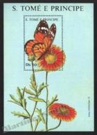 Sao Tome & Principe 1988 Yvert BF 61, Fauna. Insect, Butterfly. Flora. Flower, Daisy - Miniature Sheet - MNH - Sao Tomé E Principe