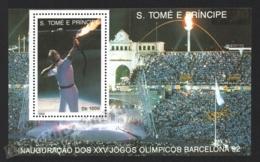 Sao Tome & Principe 1992 Yvert BF 137B, Sports. Barcelona Olympic Games Opening - Miniature Sheet - MNH - Sao Tome And Principe