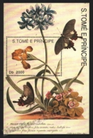 Sao Tome & Principe 1993 Yvert BF 140, Flora. Flowers, Iris. Fauna. Insects, Butterflies - Miniature Sheet - MNH - Sao Tome And Principe