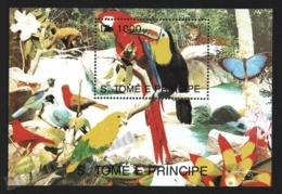 Sao Tome & Principe 1993 Yvert BF 141, Fauna. Birds, Parrots & Toucan - Miniature Sheet - MNH - Sao Tome And Principe