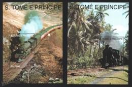 Sao Tome & Principe 1993 Yvert BF 142-43, Trains. Steam Locomotives - Miniature Sheet - MNH - Sao Tome And Principe