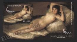 Sao Tome & Principe 2000 Yvert BF 176, Art. Nude Maja, Painting By Goya - Miniature Sheet - MNH - Sao Tome And Principe