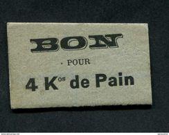 """Jeton Carton - Monnaie De Nécessité """"Bon Pour 4kgs De Pain / Einville-au-Jard (Meurthe Et Moselle)"""" Emergency Token - Monétaires / De Nécessité"""