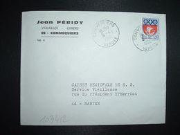 LETTRE TP BLASON DE PARIS 0,30 OBL.6-4 1966 COMMEQUIERS VENDEE (85) Jean PERIDY VOLAILLES GIBIERS - Marcofilia (sobres)