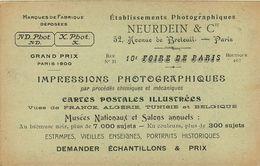 SALON DE PARIS PUBLICITÉ Au DOS Etablissements NEURDEIN & Cie IMPRESSIONS PHOTO CARTES POSTALES ETC .... - Werbepostkarten