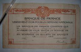 Lot De 2 Bons De Versement D'or Pour La Défense Nationale 1915 (400 Francs) Et 1918 (20 Francs) - Notgeld