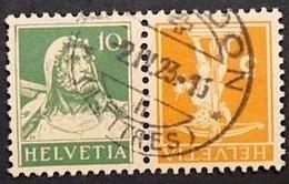 Schweiz Suisse 1921: Kehrdruck Zweifarbig Tete-bêche Bicolore Zu K17 Mi K17 O YVERDON 2.IV.23 (LETTRES) ( (Zu CHF 12.00) - Tete Beche