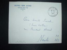 LETTRE OBL.11-5 1965 CROIX DE VIE VENDEE (85) HOTEL KER LOUIS - Marcofilia (sobres)