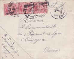 Belgique - TX18x3 Dont Une Paire Sur Lettre De Verviers à Antwerpen - 1919 - Covers